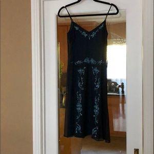Women's spaghetti strap silk dress embroidery
